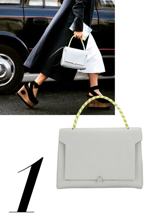 "Kate Foley, @therealkatefoley  <strong>Anya Hindmarch</strong> bag, $1,595, <a target=""_blank"" href=""http://shop.harpersbazaar.com/designers/anya-hindmarch/small-bathurst-satchel/"">ShopBAZAAR.com.</a>"