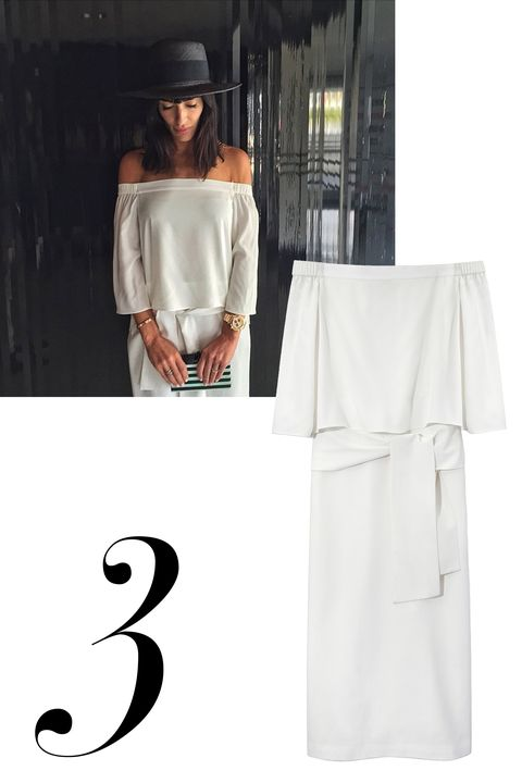 "Athena Calderone, @eyeswoon  <strong>Tibi</strong> dress, $595, <a target=""_blank"" href=""http://shop.harpersbazaar.com/designers/tibi/white-off-the-shoulder-dress/"">ShopBAZAAR.com.</a>"