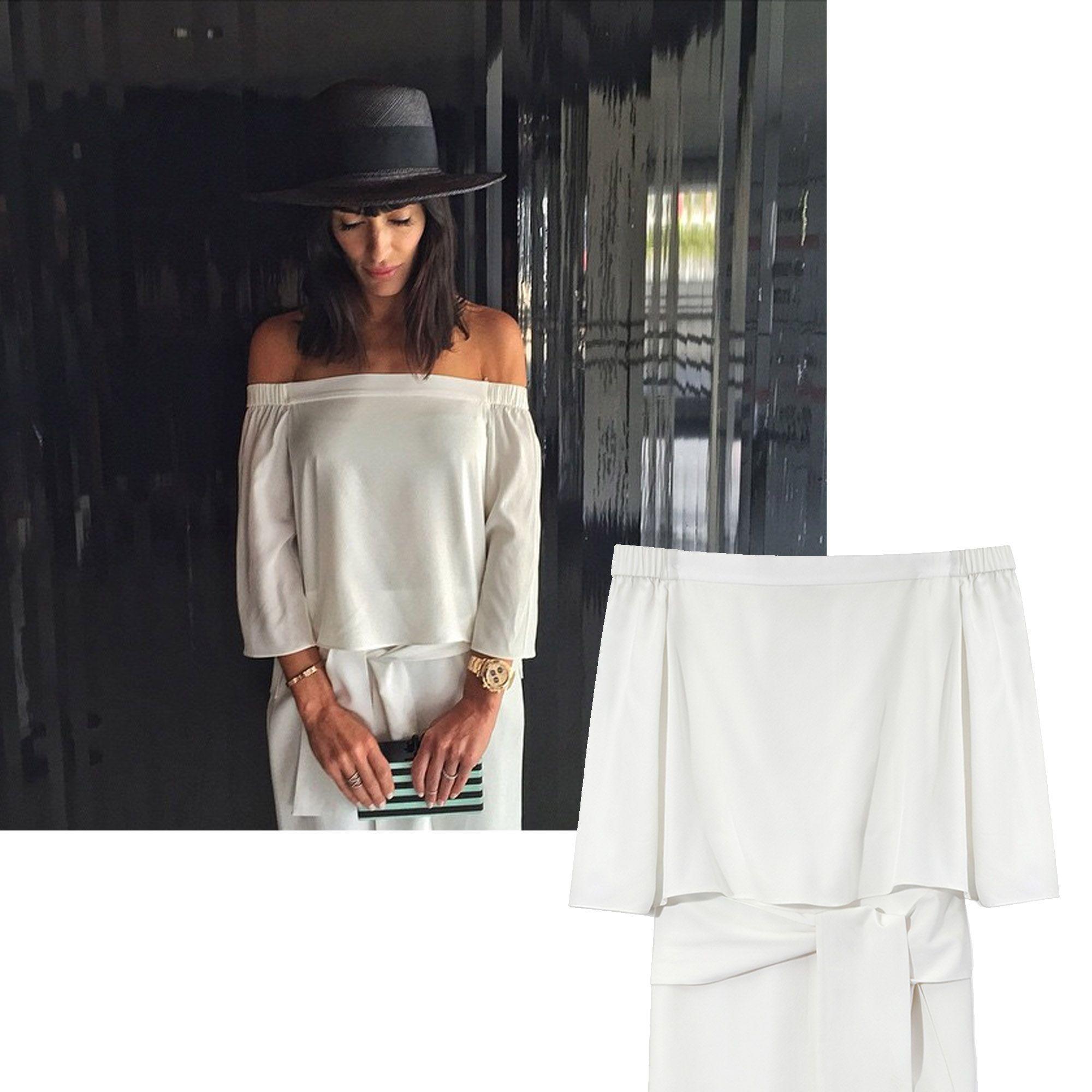 "Athena Calderone, @eyeswoon<strong>Tibi</strong> dress, $595, <a target=""_blank"" href=""http://shop.harpersbazaar.com/designers/tibi/white-off-the-shoulder-dress/"">ShopBAZAAR.com.</a>"