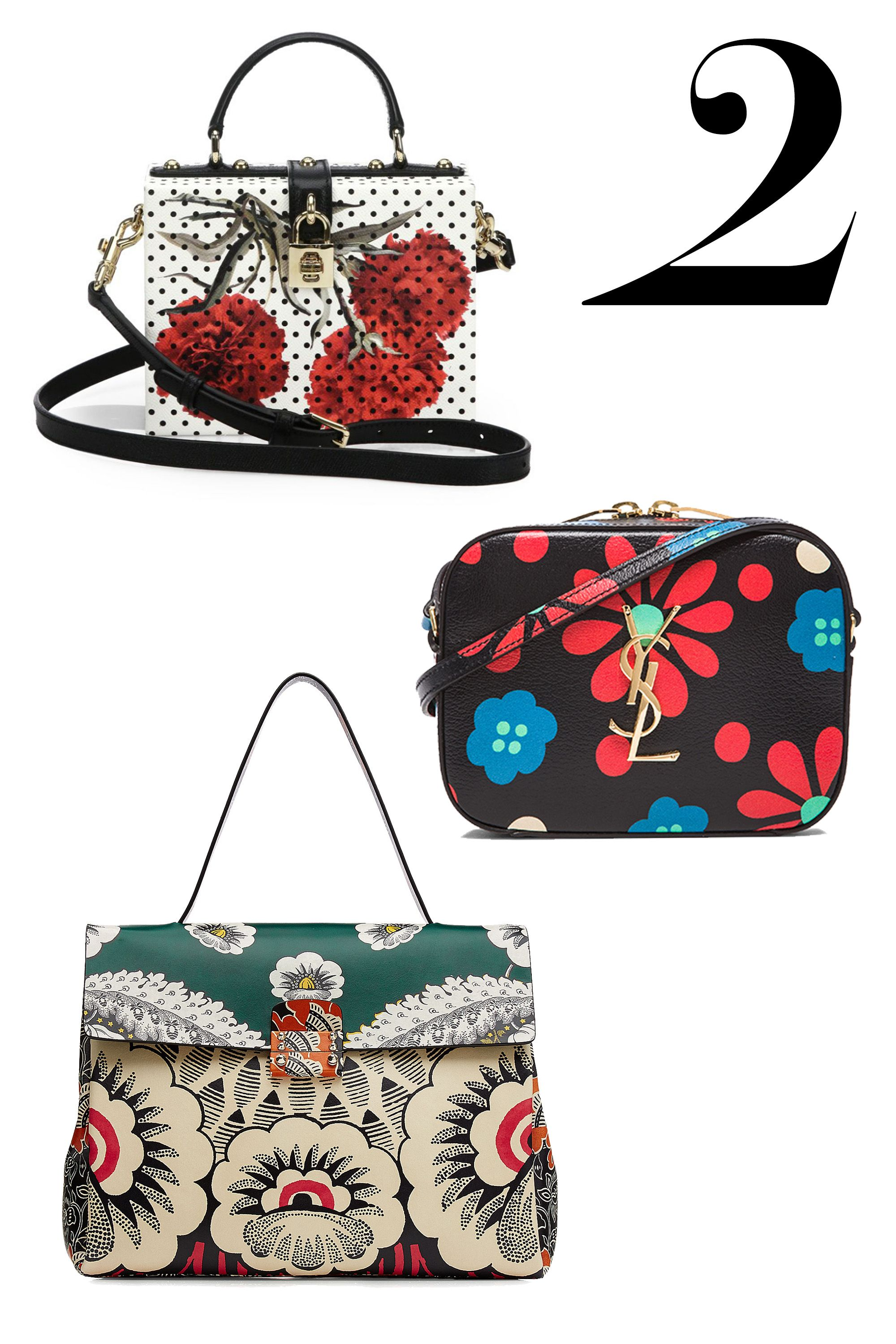 "If you're not a head-to-toe floral advocate, lean into the idea with a fetching printed bag.   <em>Dolce & Gabbana bag, $2,895, <a target=""_blank"" href=""http://www.saksfifthavenue.com/main/ProductDetail.jsp?PRODUCT%3C%3Eprd_id=845524446748961&site_refer=CSE_POLY&CA_6C15C=500002830008615526"">saksfifthavenue.com</a>; Saint Laurent bag, $1,090, <a target=""_blank"" href=""http://www.fwrd.com/fw/DisplayProduct.jsp?code=SLAU-WY128&utm_source=polyvore-US_CPC&utm_medium=affiliate&utm_campaign=Handbags&cvosrc=affiliate.polyvore.cpc-us&source=polyvore"">fwrd.com</a>; Valentino bag, price upon request, <a target=""_blank"" href=""http://www.saks.com"">saks.com</a>.</em>"