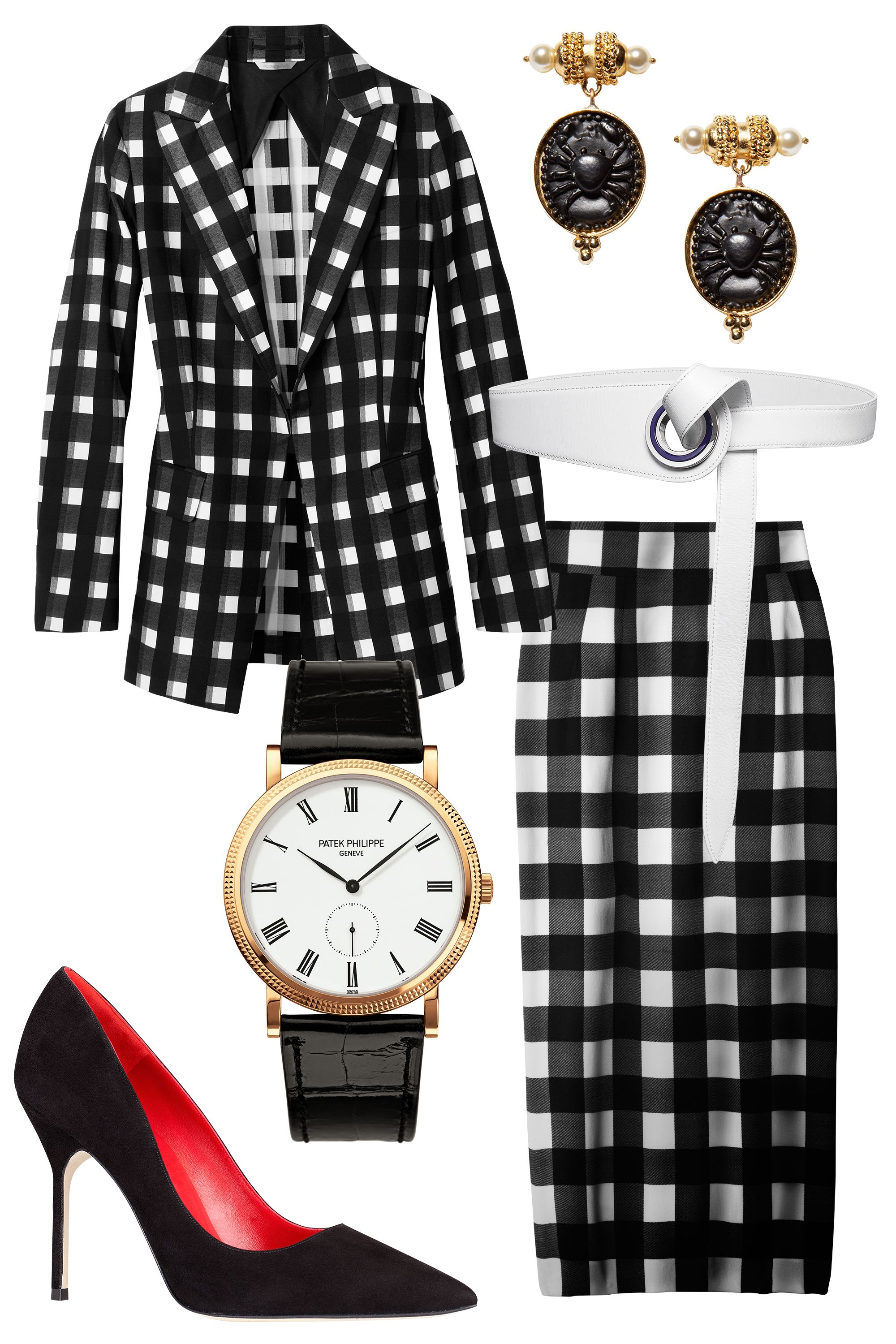 "Office attire is getting a makeover thanks to a heavy dose of pattern play and just-this-side-of-sexy silhouettes. Take your cue from Joseph Altuzarra and anchor a gingham look with polished extras—black heels and a waist-defining belt are musts.  <strong>Altuzarra</strong> earrings, <a target=""_blank"" href=""http://altuzarra.com/en/contents"">altuzarra.com</a>; <strong>Sportmax</strong> blazer, $1,190, Similar styles at <a target=""_blank"" href=""http://shop.harpersbazaar.com/clothing/jackets-blazers/"">shopBAZAAR.com</a><img src=""http://assets.hdmtools.com/images/HBZ/Shop.svg"" class=""icon shop"">; <strong>Dior</strong> belt, $740, 800-929-Dior; <strong>Patek Phillippe</strong> watch, Tiffany & co., NYC; 212-905-4036; <strong>Doce & Gabbana</strong> skirt, $995, 877-70-DGUSA; <strong>CH Carolina Herrera</strong> pump, $495, 310-276-8900"