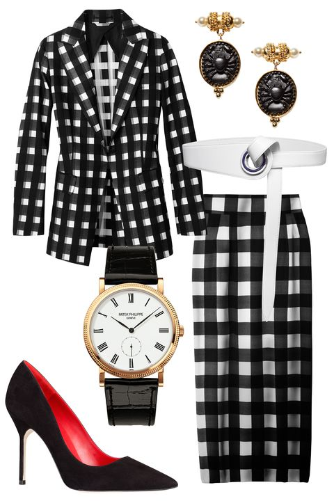 "Office attire is getting a makeover thanks to a heavy dose of pattern play and just-this-side-of-sexy silhouettes. Take your cue from Joseph Altuzarra and anchor a gingham look with polished extras—black heels and a waist-defining belt are musts.  <strong>Altuzarra</strong> earrings, <a target=""_blank"" href=""http://altuzarra.com/en/contents"">altuzarra.com</a>; <strong>Sportmax</strong> blazer, $1,190, Similar styles at <a target=""_blank"" href=""http://shop.harpersbazaar.com/clothing/jackets-blazers/"">shopBAZAAR.com</a><img src=""http://assets.hdmtools.com/images/HBZ/Shop.svg"" class=""icon shop"">; <strong>Dior</strong> belt, $740, 800-929-Dior; <strong>Patek Phillippe</strong> watch, Tiffany &amp; co., NYC; 212-905-4036; <strong>Doce &amp; Gabbana</strong> skirt, $995, 877-70-DGUSA; <strong>CH Carolina Herrera</strong> pump, $495, 310-276-8900"