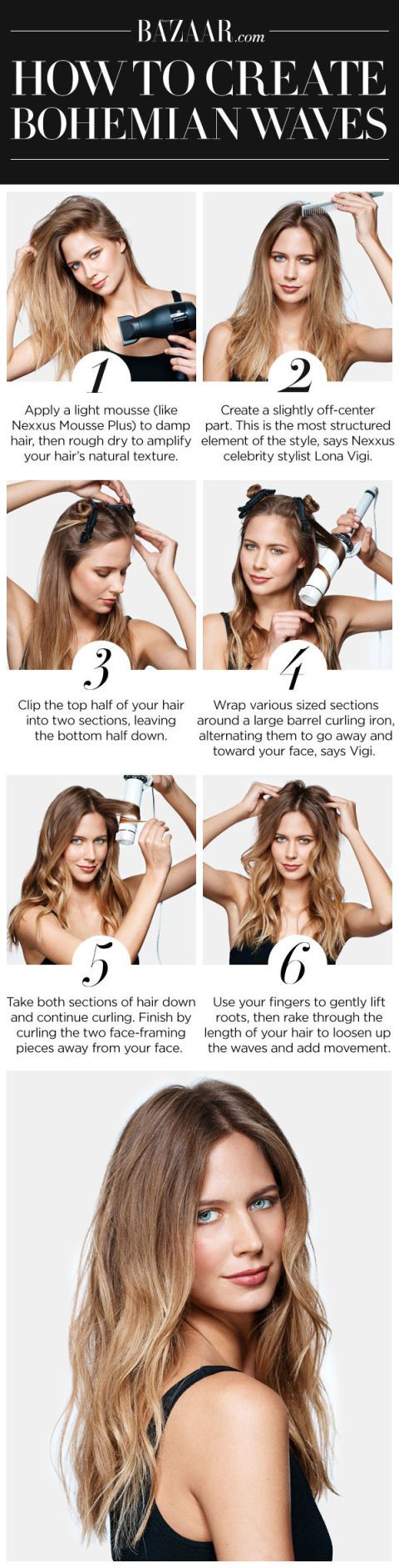 How To Get Wavy Hair 6 Step Bohemian Waves Hair Tutorial