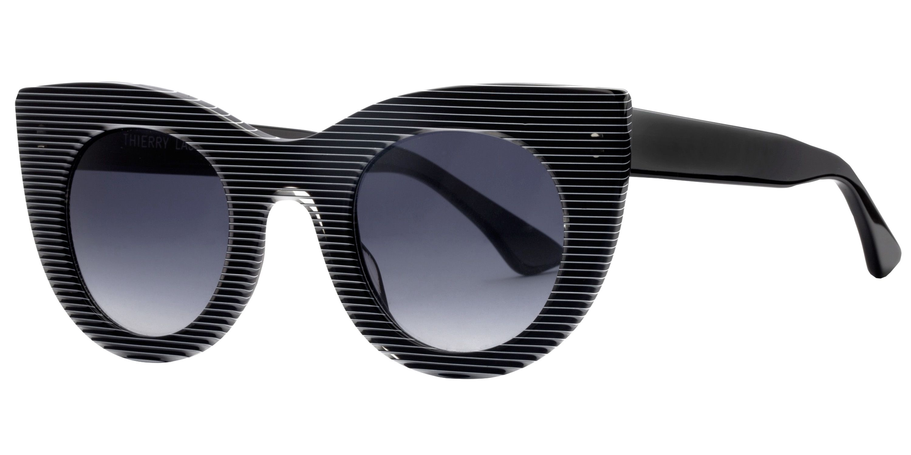 "<strong>Theirry Lasry</strong> sunglasses, $385, <a target=""_blank"" href=""http://www.thierrylasry.com/collections/2013-2/?id=40"">theirrylasry.com</a>."