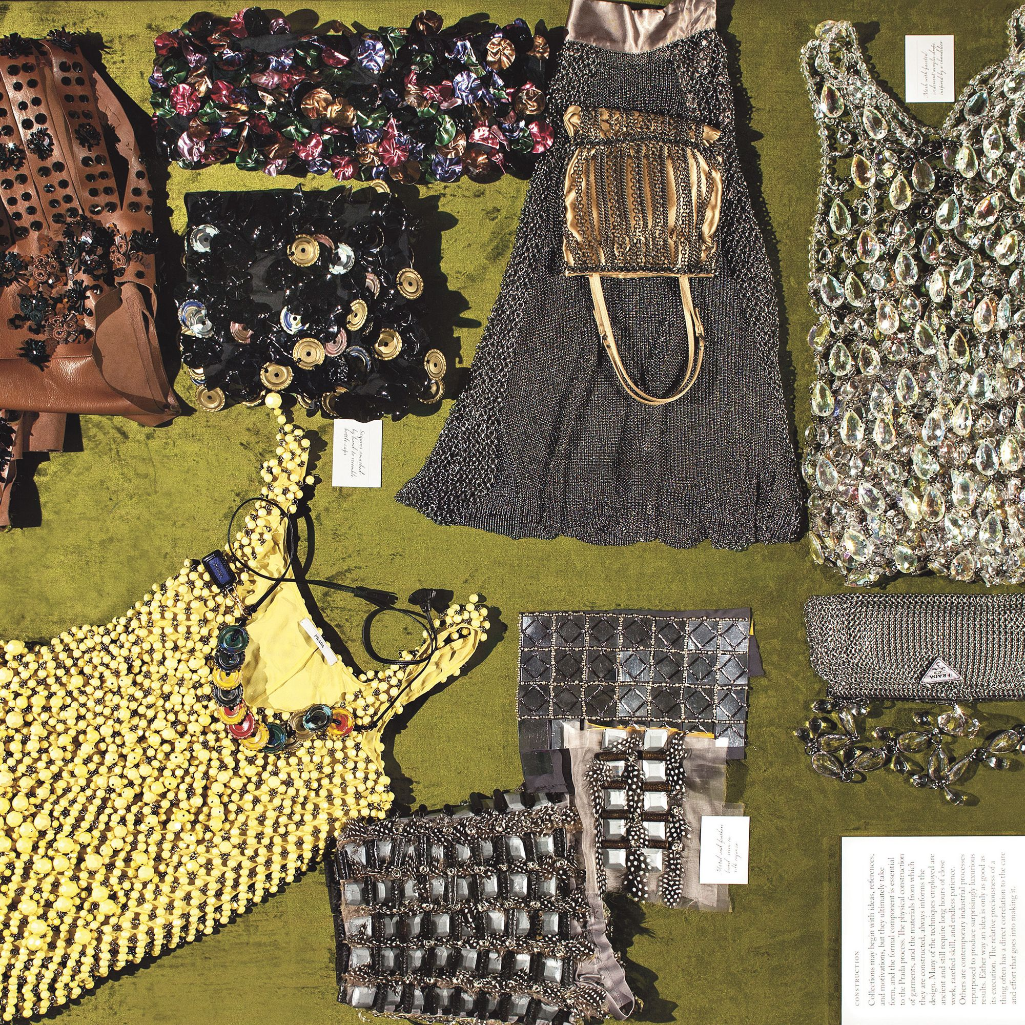 <p>Textural leathers, beadwork and crystals from the Construction chapter.</p>