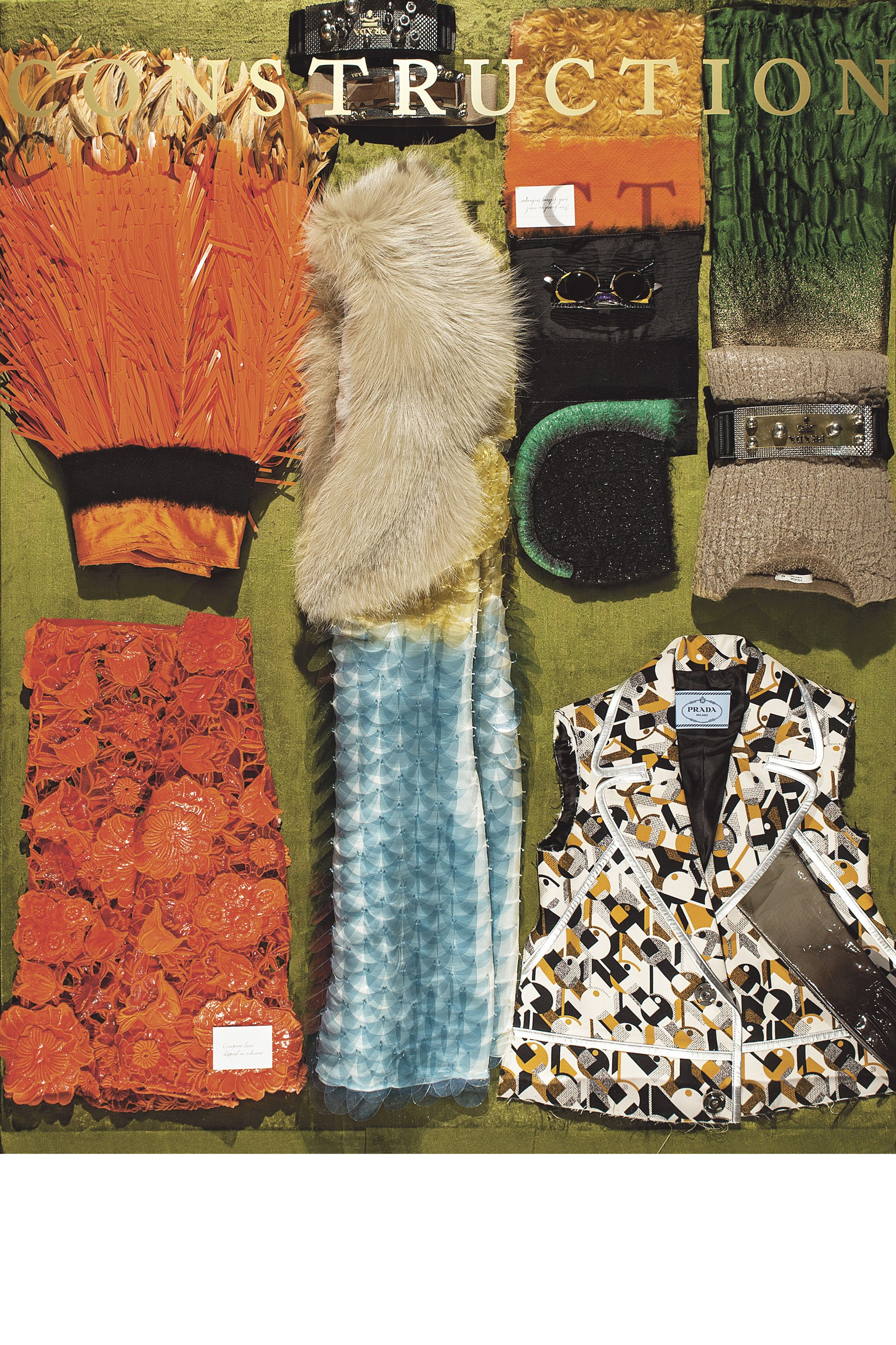 <p>More of Prada's lush furs, supersized paillettes and manipulated fabrics.</p>