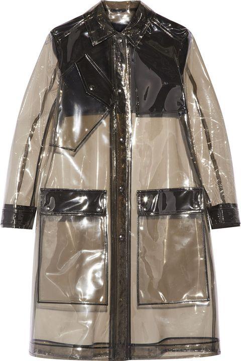 """<strong>Belstaff</strong> coat, $2,350, <a target=""""_blank"""" href=""""http://www.net-a-porter.com/product/538584/Belstaff/grayson-pvc-raincoat"""">net-a-porter.com</a>."""