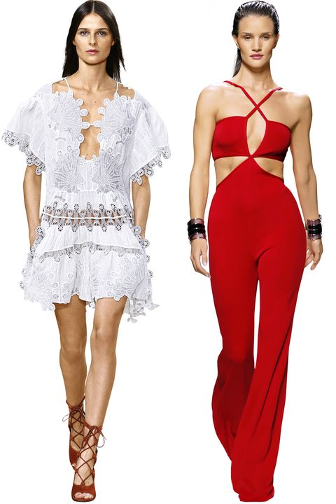 """The dresses from Chloe's Spring 2015 collection are to die for! So are the jumpsuits from Balmain, like this red one, which I happily modeled for the house's spring collection.""   <em>Pictured: Chloe and Balmain Spring 2015</em>"