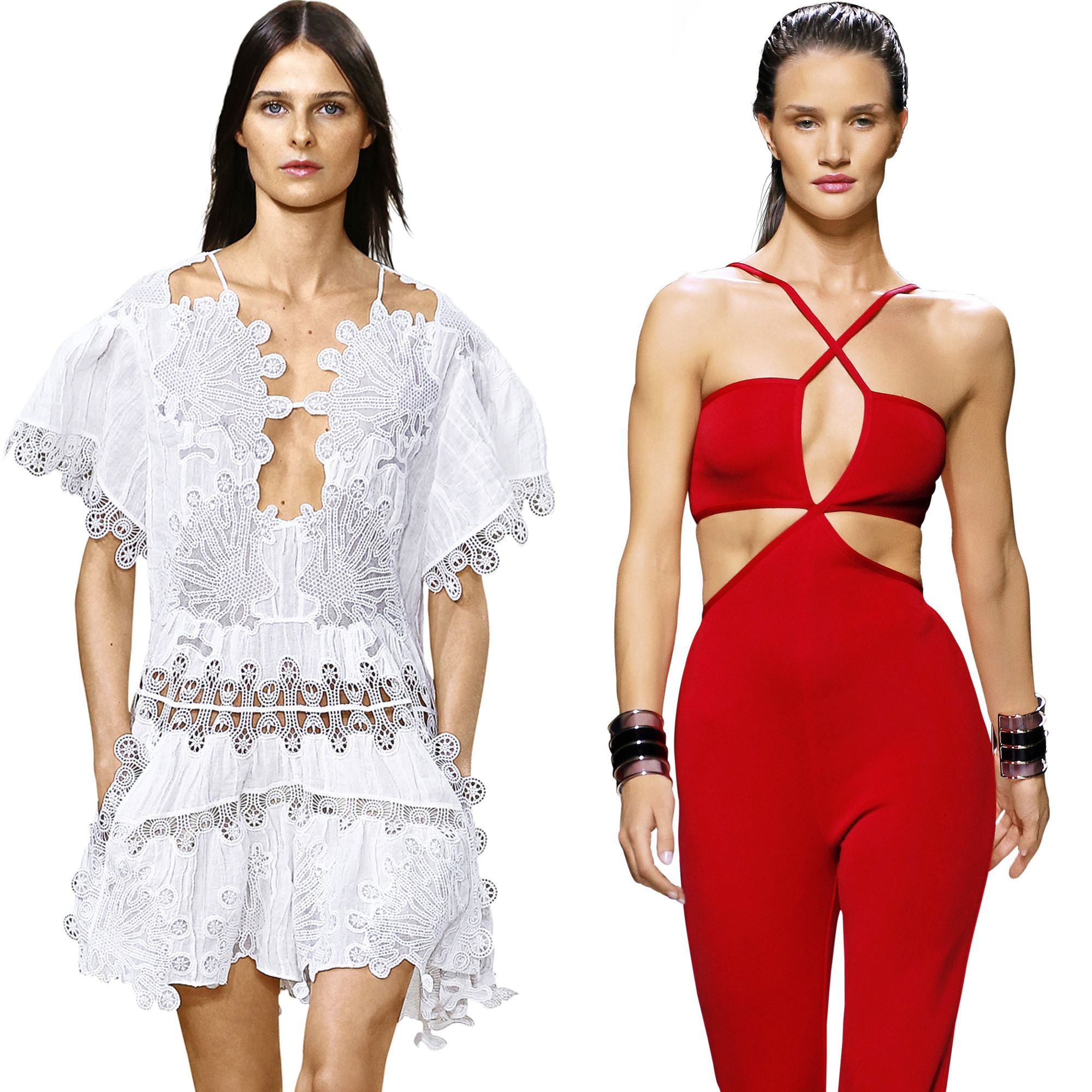 """""""The dresses from Chloe's Spring 2015 collection are to die for! So are the jumpsuits from Balmain, like this red one, which I happily modeled for the house's spring collection."""" <em>Pictured: Chloe and Balmain Spring 2015</em>"""