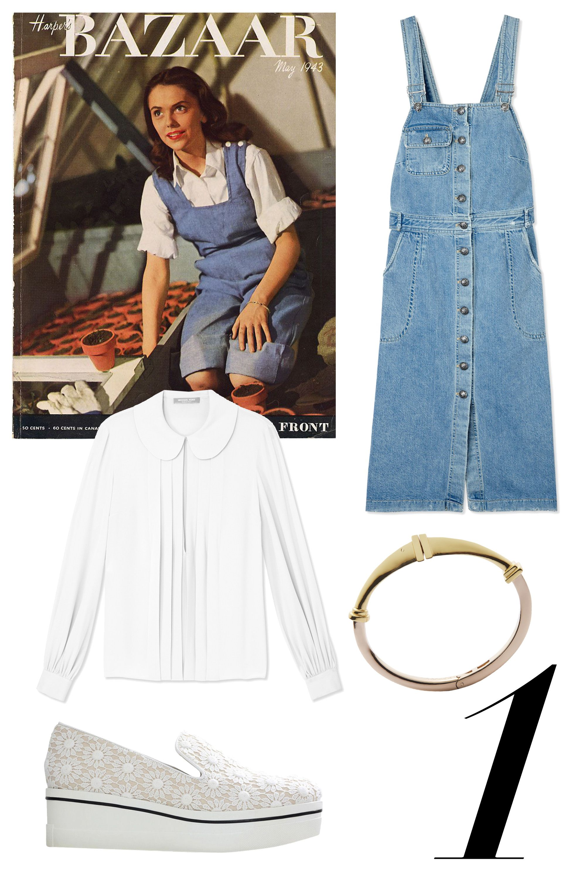 "A teenage Lauren Bacall celebrated garden-chic for Spring in classic overalls and Dorothy-style pigtails. Modernize this look by opting for an overall dress, a pleated georgette blouse and slip-on platforms. Add a cuff to accent your look.   <strong>Shop The Look: </strong><em>Michael Kors blouse, $950, <a target=""_blank"" href=""http://shop.harpersbazaar.com/designers/michael-kors/white-georgette-pleated-blouse/"">ShopBAZAAR.com.</a>, Sea dress, $395, <a target=""_blank"" href=""http://shop.harpersbazaar.com/designers/sea/denim-overalls-dress/"">ShopBAZAAR.com</a>., Eddie Borgo cuff, $225, <a target=""_blank"" href=""http://shop.harpersbazaar.com/designers/eddie-borgo/plinth-cuff/"">ShopBAZAAR.com.</a>, Stella McCartney sneakers, $565, <a target=""_blank"" href=""http://shop.harpersbazaar.com/designers/stella-mccartney/lace-platform-slip-on-sneakers/"">ShopBAZAAR.com.</a></em>"