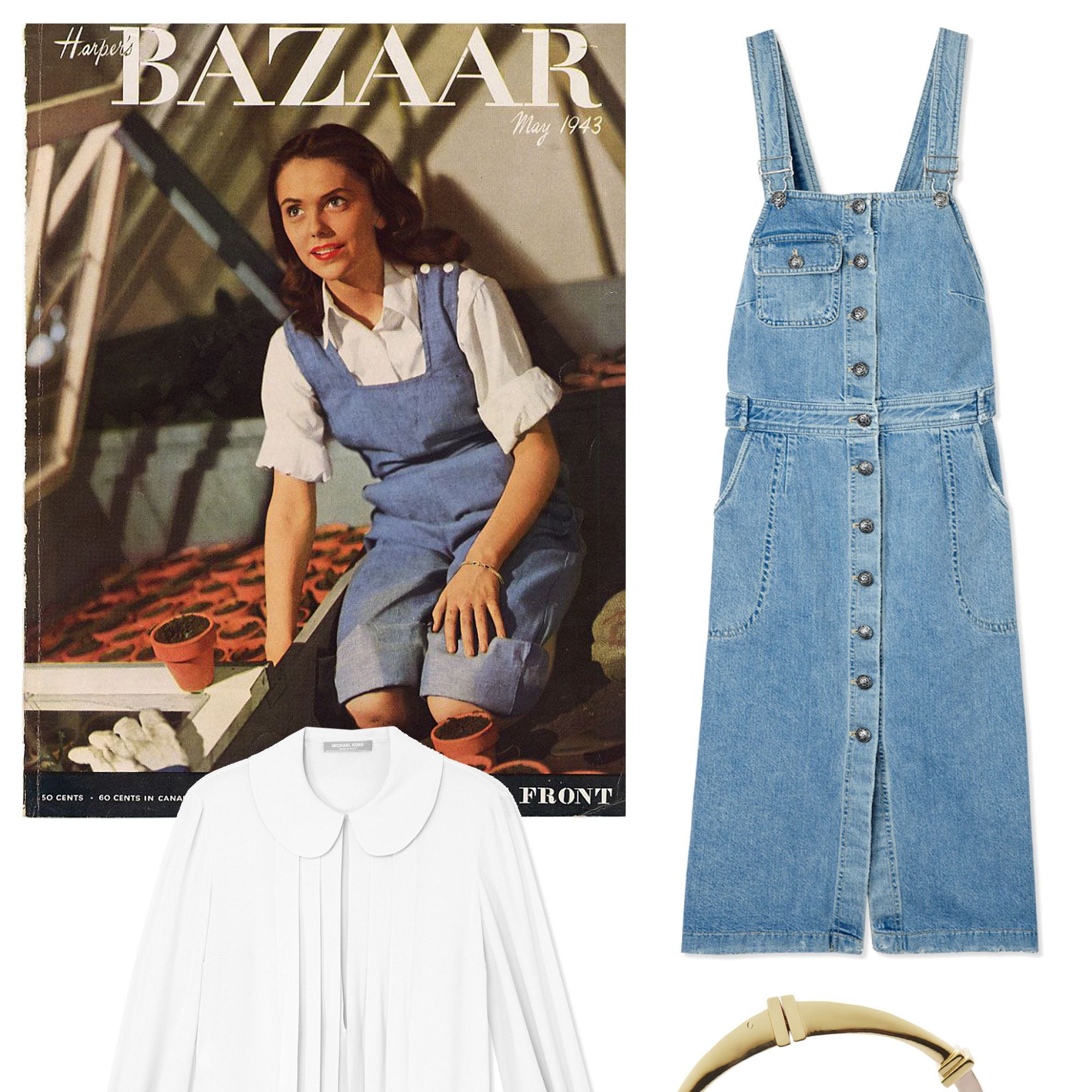 """A teenage Lauren Bacall celebrated garden-chic for Spring in classic overalls and Dorothy-style pigtails. Modernize this look by opting for an overall dress, a pleated georgette blouse and slip-on platforms. Add a cuff to accent your look. <strong>Shop The Look: </strong><em>Michael Kors blouse, $950, <a target=""""_blank"""" href=""""http://shop.harpersbazaar.com/designers/michael-kors/white-georgette-pleated-blouse/"""">ShopBAZAAR.com.</a>, Sea dress, $395, <a target=""""_blank"""" href=""""http://shop.harpersbazaar.com/designers/sea/denim-overalls-dress/"""">ShopBAZAAR.com</a>., Eddie Borgo cuff, $225, <a target=""""_blank"""" href=""""http://shop.harpersbazaar.com/designers/eddie-borgo/plinth-cuff/"""">ShopBAZAAR.com.</a>, Stella McCartney sneakers, $565, <a target=""""_blank"""" href=""""http://shop.harpersbazaar.com/designers/stella-mccartney/lace-platform-slip-on-sneakers/"""">ShopBAZAAR.com.</a></em>"""