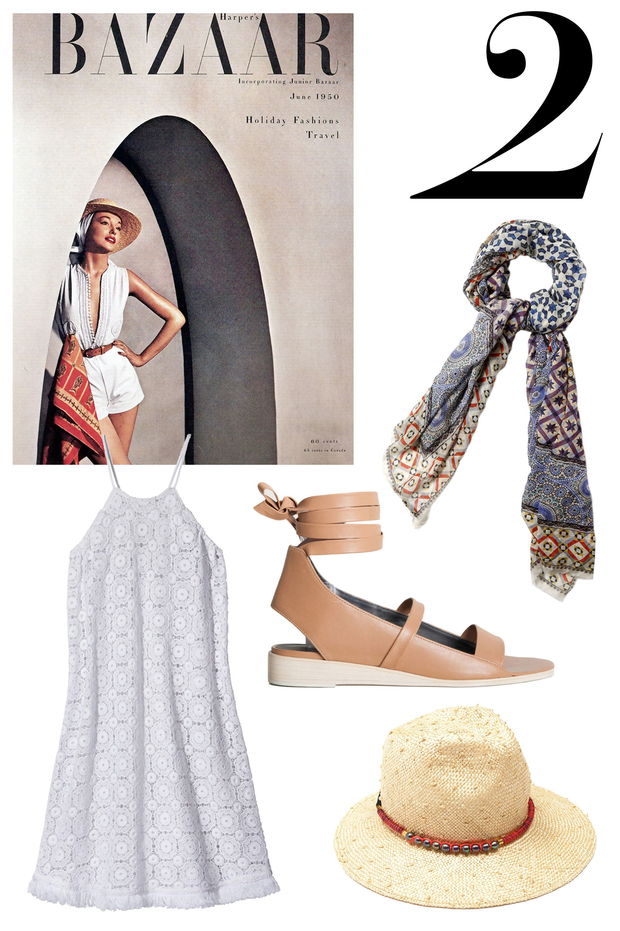 """Model, Natalie Paine looks flawlessly Tuscan-inspired chic in a detailed, white outfit with brown accents. Try a white lace dress, a picnic fedora, beige sandals and a patterned scarf.  <strong>Shop The Look: </strong><em>Miguelina dress, $320, <a target=""""_blank"""" href=""""http://shop.harpersbazaar.com/designers/miguelina/cindy-cover-up/"""">ShopBAZAAR.com.</a>, Faliero Sarti Compostella scarf, $406, <a target=""""_blank"""" href=""""http://shop.harpersbazaar.com/designers/faliero-sarti/compostella-scarf/"""">ShopBAZAAR.com.</a>, Tibi sandal, $425, <a target=""""_blank"""" href=""""http://shop.harpersbazaar.com/designers/tibi/ellison-sandal/"""">ShopBAZAAR.com.</a>, Gigi Burris x Lizzie Fortunato hat, $395, <a target=""""_blank"""" href=""""http://shop.harpersbazaar.com/designers/gigi-burris-x-lizzie-fortunato/picnic-fedora/"""">ShopBAZAAR.com.</a></em>"""