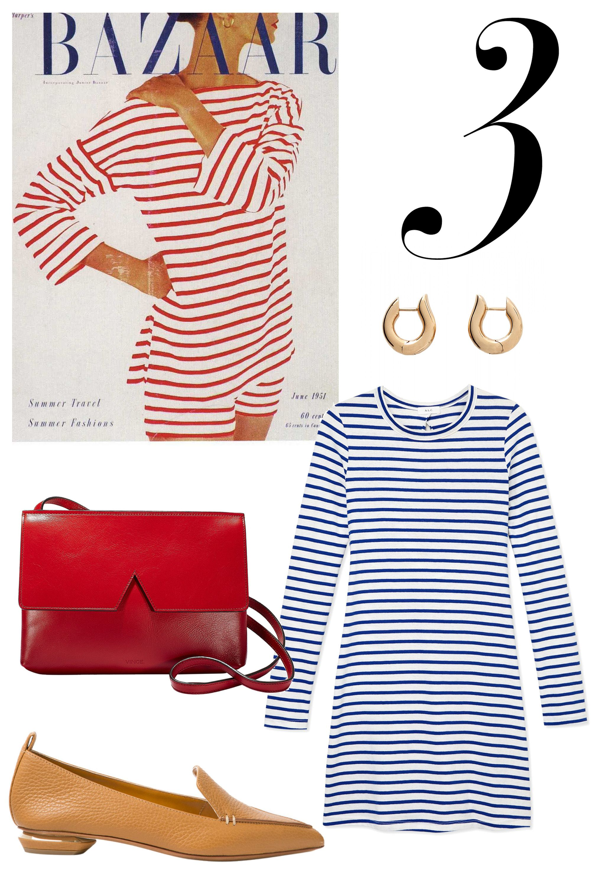"Alexey Brodovitch radiates sophistication in her classic French ensemble. Opt for horizontal stripes in either blues or reds, paired with beige loafers and a red cross body bag. Try medium hoop earrings to round out the look.   <strong>Shop The Look: </strong><em>Vince bag, $295, <a target=""_blank"" href=""http://shop.harpersbazaar.com/designers/vince/signature-collection-baby-crossbody/"">ShopBAZAAR.com.</a>, Nicholas Kirkwood shoes, $395, <a target=""_blank"" href=""http://shop.harpersbazaar.com/designers/nicholas-kirkwood/bottalato-loafer/"">ShopBAZAAR.com.</a>, A.L.C. dress, $245, <a target=""_blank"" href=""http://shop.harpersbazaar.com/designers/a-l-c/fay-dress/"">ShopBAZAAR.com.</a>, Tamara Comolli earrings, $3,420, <a target=""_blank"" href=""http://shop.harpersbazaar.com/designers/tamara-comolli/medium-drop-hoop-earrings/"">ShopBAZAAR.com.</a></em>"