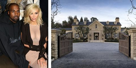 """After abandoning their unlived-in <a target=""""_blank"""" href=""""http://www.elledecor.com/celebrity-style/celebrity-homes/news/a6645/kim-kardashian-kanye-west-bel-air-mansion/"""">9,000-square-foot mansion</a> when the renovations became too much, Kimye bought this <a target=""""_blank"""" href=""""http://www.elledecor.com/celebrity-style/celebrity-homes/news/a6749/kim-kanye-hidden-hills-mansion/"""">$20 million estate</a> in Hidden Hills. The eight-bedroom home is equipped with two pools, two spas and even its own vineyard."""