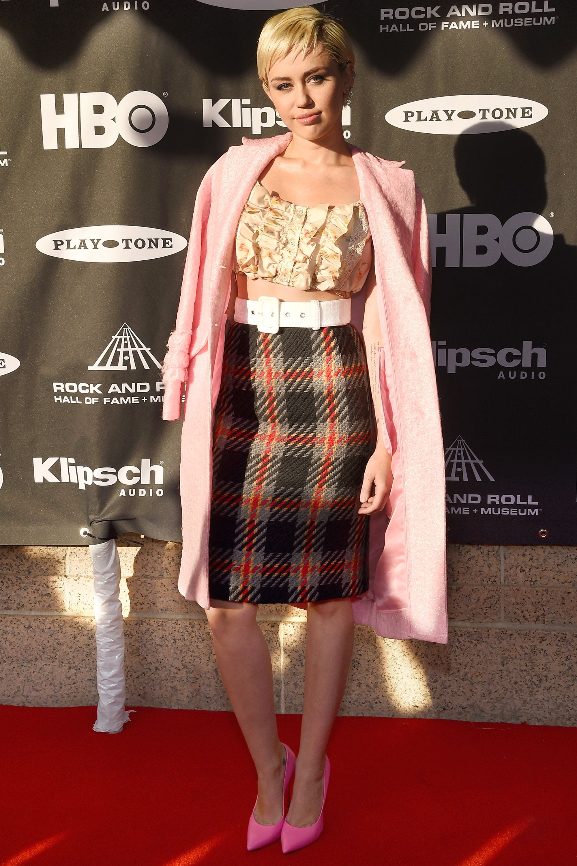 CLEVELAND, OH - APRIL 18:  Musician Miley Cyrus attends the 30th Annual Rock And Roll Hall Of Fame Induction Ceremony at Public Hall on April 18, 2015 in Cleveland, Ohio.  (Photo by Dimitrios Kambouris/WireImage for Rock and Roll Hall of Fame)