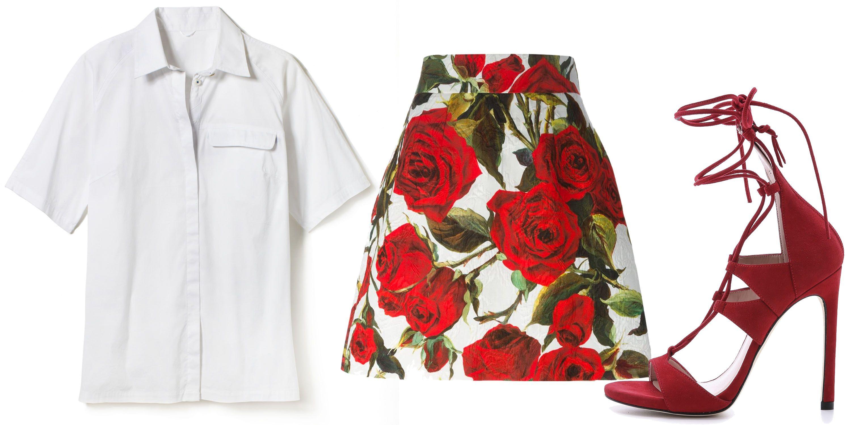 "<em>Carrall Button Up in White, $148; <a target=""_blank"" href=""https://clicks.eyereturn.com/redir.aspx?tokenID=1050825&cn=0"">kitandace.com</a>; Dolce & Gabbana Rose Print Brocade Skirt, $1,095; <a target=""_blank"" href=""http://www.farfetch.com/shopping/women/dolce-gabbana-rose-print-brocade-skirt-item-10969631.aspx?storeid=9339&ffref=lp_226_11"">farfetch.com</a>; Stuart Weitzman The Legwrap Sandal, $498; <a target=""_blank"" href=""http://www.stuartweitzman.com/products/legwrap/"">stuartweitzman.com</a></em>"