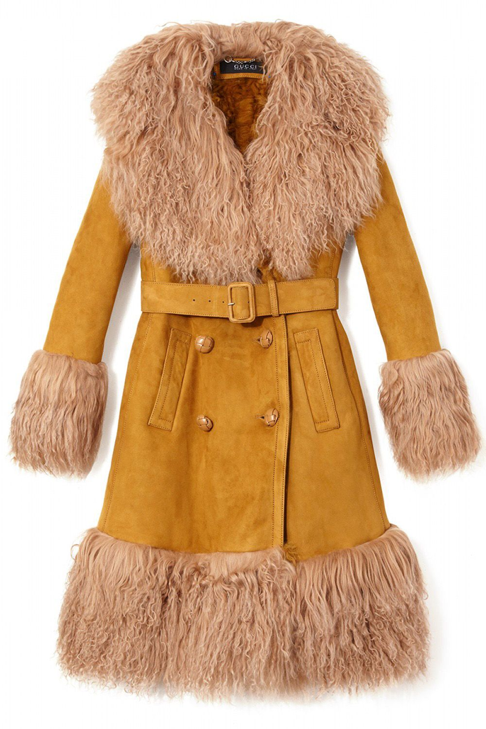 "<em>Gucci coat, $9,500, <a target=""_blank"" href=""http://shop.harpersbazaar.com/designers/gucci/belted-shearling-coat/"">ShopBAZAAR.com.</a></em>"
