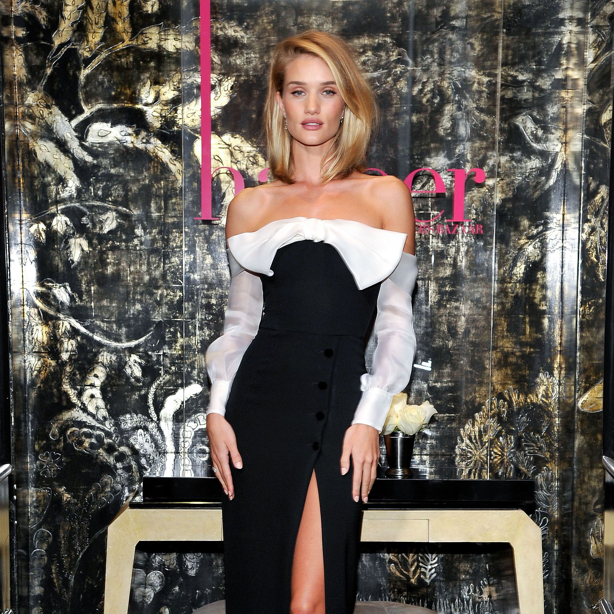 LOS ANGELES, CA - APRIL 21:  Model/actress Rosie Huntington-Whiteley attends harper by Harper's BAZAAR at Violet Grey with Rosie Huntington-Whiteley on April 21, 2015 in Los Angeles, California.  (Photo by John Sciulli/Getty Images for Harper's BAZAAR)