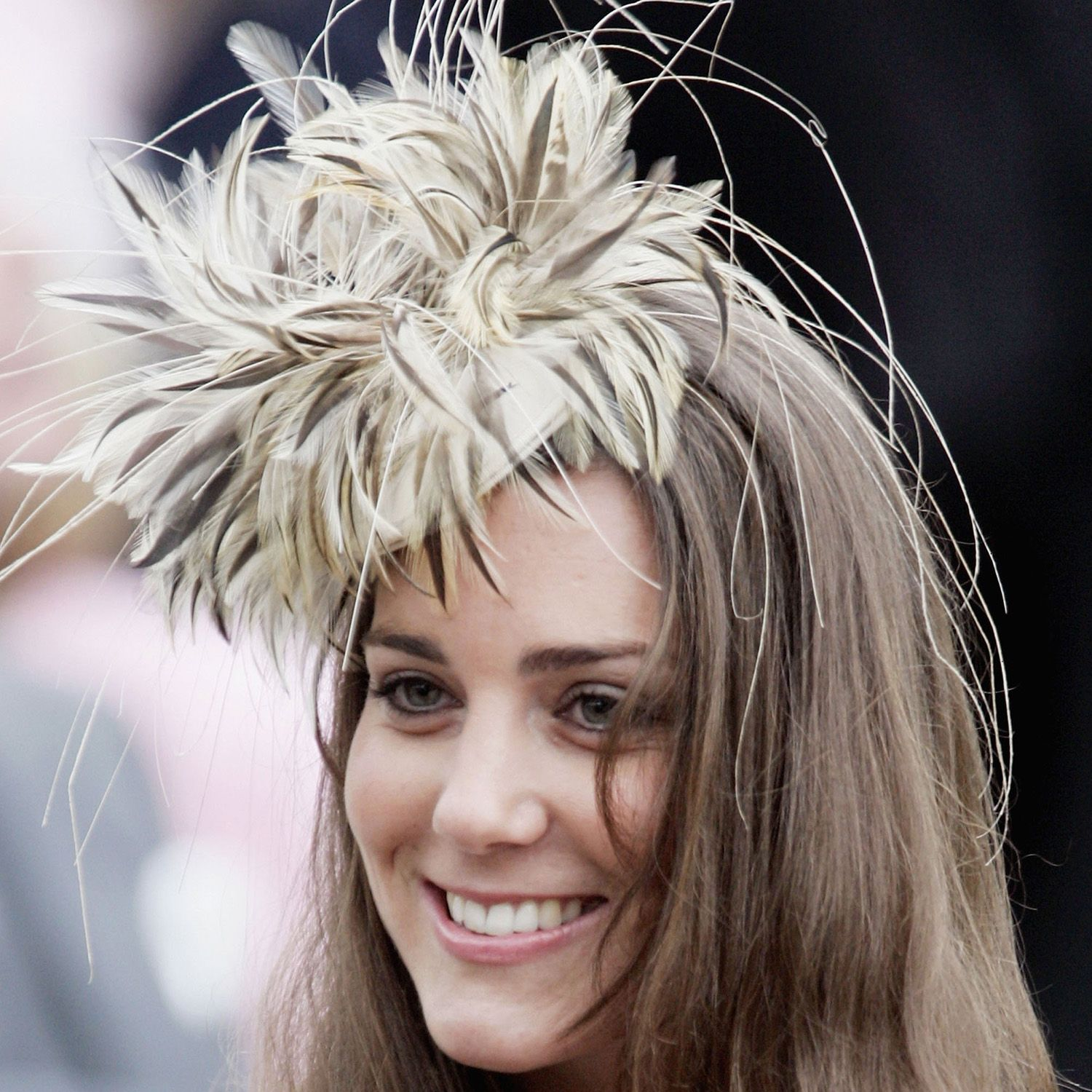 WILTSHIRE, ENGLAND - MAY 6: Kate Middleton, girlfriend of Prince Willliam, smiles at the marriage of Laura Parker-Bowles and Harry Lopes at St CyriacOs Church, Lacock, on May 6, 2006 in Wiltshire, England. (Photo by Tim Graham/Getty Images)