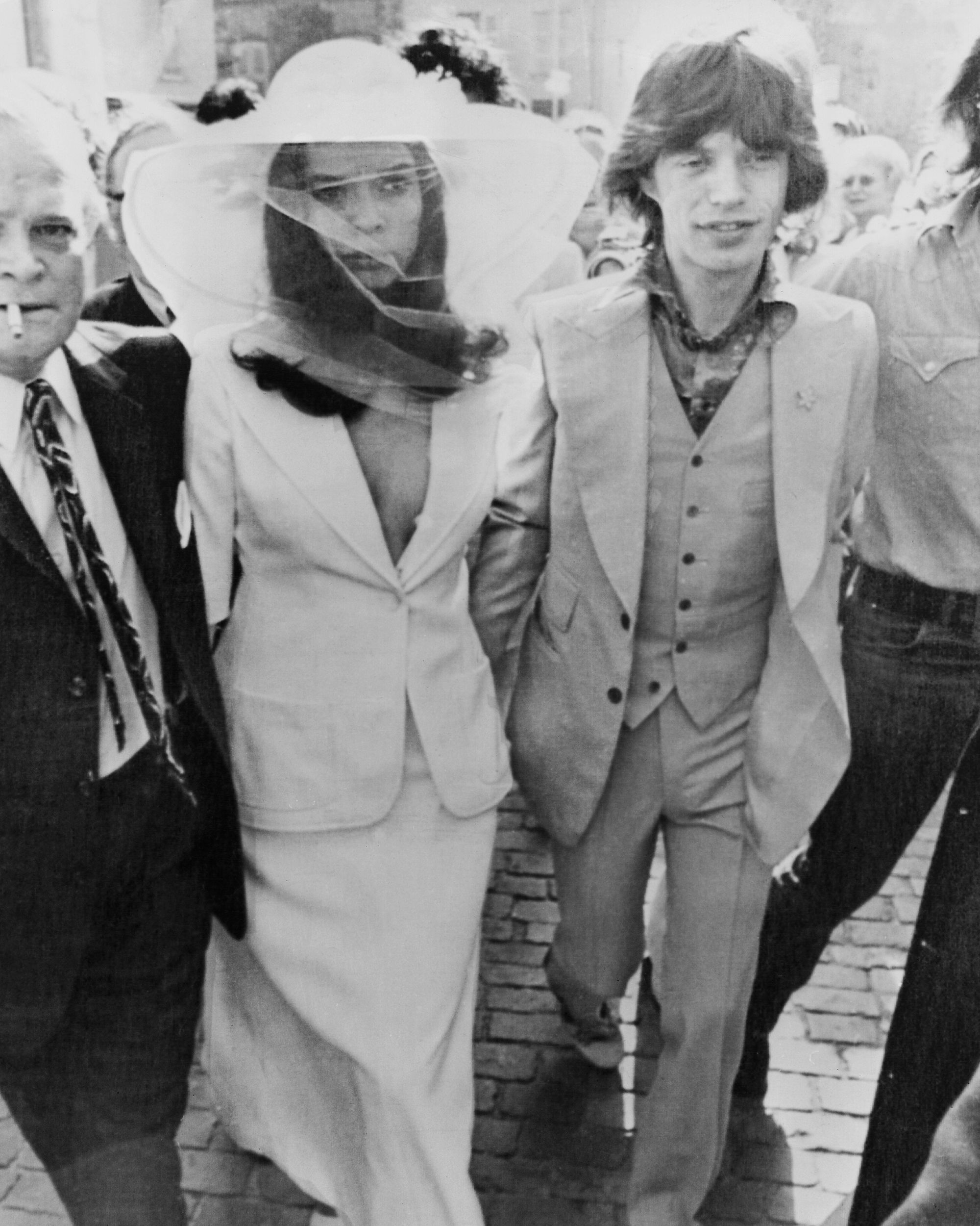 13th May 1971, British rock singer Mick Jagger and his new wife Bianca Jagger outside St Tropez Town Hall on their wedding day. (Photo by Express/Getty Images)