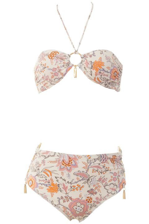 """<strong>Victoria's Secret</strong> bikini <a target=""""_blank"""" href=""""https://www.victoriassecret.com/swimwear/bikinis/ring-bandeau-halter-forever-sexy?ProductID=229850&amp;CatalogueType=OLS"""">top</a>, $45, and <a target=""""_blank"""" href=""""https://www.victoriassecret.com/swimwear/bikinis/ring-high-waist-bottom-forever-sexy?ProductID=230942&amp;CatalogueType=OLS"""">bottom</a>, $50, <a target=""""_blank"""" href=""""https://www.victoriassecret.com/"""">victoriassecret.com</a>."""