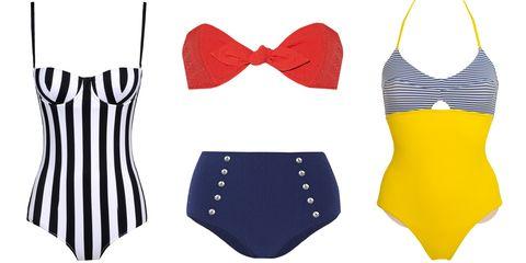 "<em>Lisa Marie Fernandez swimsuit, $390, <a target=""_blank"" href=""http://www.net-a-porter.com/product/544987/Lisa_Marie_Fernandez/poppy-bandeau-bikini"">net-a-porter.com</a>; Albertine swimsuit, $258, <a target=""_blank"" href=""http://www.albertine-swim.com/gb/eshop/316-orlando-une-piece-blue-stripes.html"">albertine-swim.com</a>; Dolce &amp; Gabbana swimsuit, $595, <a target=""_blank"" href=""http://shop.harpersbazaar.com/designers/dolce-gabbana/striped-one-piece-swimsuit/"">shopBAZAAR.com</a></em><img src=""http://assets.hdmtools.com/images/HBZ/Shop.svg"" class=""icon shop"">."