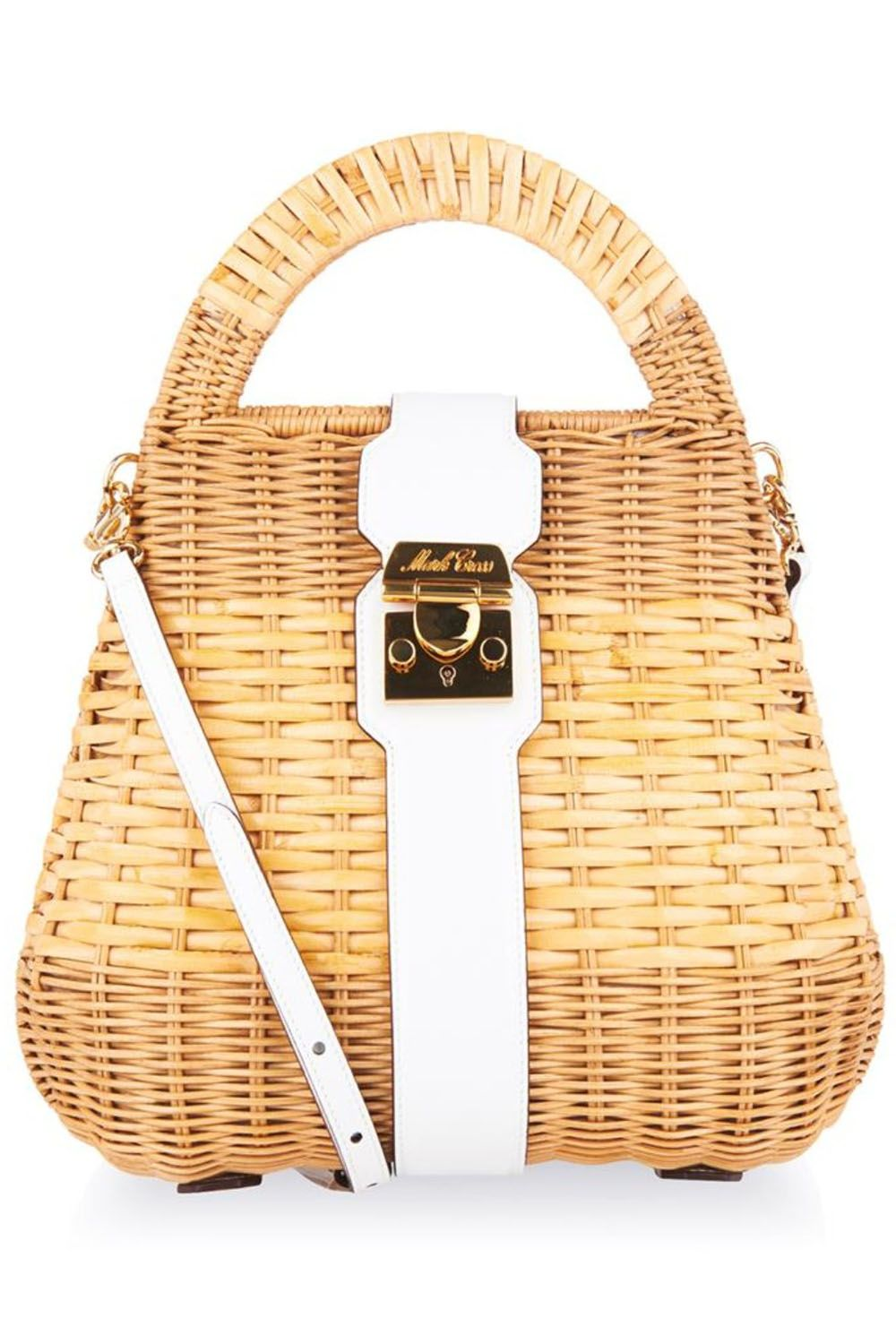 "<em>Mark Cross satchel bag, $1,854, <a target=""_blank"" href=""http://www.matchesfashion.com/us/products/Mark-Cross-Manray-small-rattan-satchel-bag-1012118"">matchesfashion.com</a>.</em>"