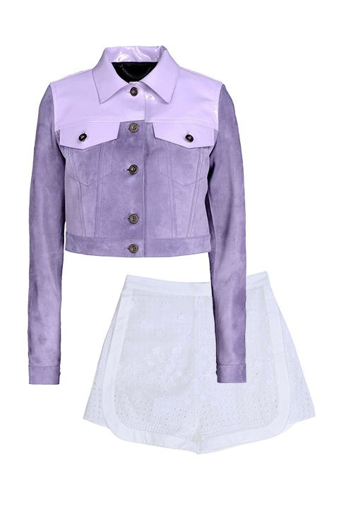 """Burberry Prorsum jacket, $4,295, <a target=""""_blank"""" href=""""http://shop.harpersbazaar.com/designers/burberry-prorsum/cropped-patent-trimmed-suede-jacket/""""><strong>ShopBAZAAR.com</strong></a>&#x3B; Giamba shorts, $1,195,<strong> <a target=""""_blank"""" href=""""http://shop.harpersbazaar.com/designers/giamba/embroidered-cotton-shorts/"""">ShopBAZAAR.com</a></strong>."""