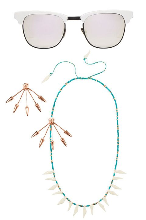 "Westward Leaning sunglasses, $225, <a target=""_blank"" href=""http://shop.harpersbazaar.com/designers/westward-leaning/vanguard-sunglasses/""><strong>ShopBAZAAR.com</strong></a>; Pamela Love earrings, $275, <a target=""_blank"" href=""http://shop.harpersbazaar.com/designers/pamela-love/five-spike-earrings/"">ShopBAZAAR.com</a>; Aurélie Bidermann necklace, $820, <a target=""_blank"" href=""http://shop.harpersbazaar.com/designers/aurelie-bidermann/squaw-necklace/""><strong>ShopBAZAAR.com</strong></a>."