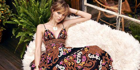 Dress, Beauty, Fashion, Day dress, Fashion model, Model, Terrestrial plant, Photo shoot, One-piece garment, Fawn,