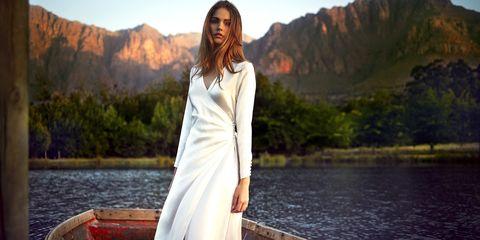 Nature, Sleeve, Dress, People in nature, Bank, Beauty, Street fashion, Lake, Fashion model, Model,