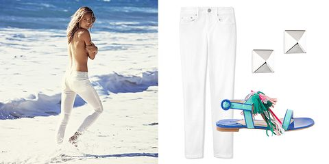 "Give your minimal, white denim a color pop with a festive sandal.   Vince jeans, $220, <a target=""_blank"" href=""http://shop.harpersbazaar.com/designers/vince/dylan-ankle-skinny-jean/""><strong>ShopBAZAAR.com</strong></a>; Eddie Borgo earrings, $65, <a target=""_blank"" href=""http://shop.harpersbazaar.com/designers/eddie-borgo/silver-pyramid-stud-earrings/""><strong>ShopBAZAAR.com</strong></a>; Paul Andrew sandals, $895, <a target=""_blank"" href=""http://shop.harpersbazaar.com/designers/paul-andrew/krisila-patent-tassel-sandal/""><strong>ShopBAZAAR.com</strong></a>."