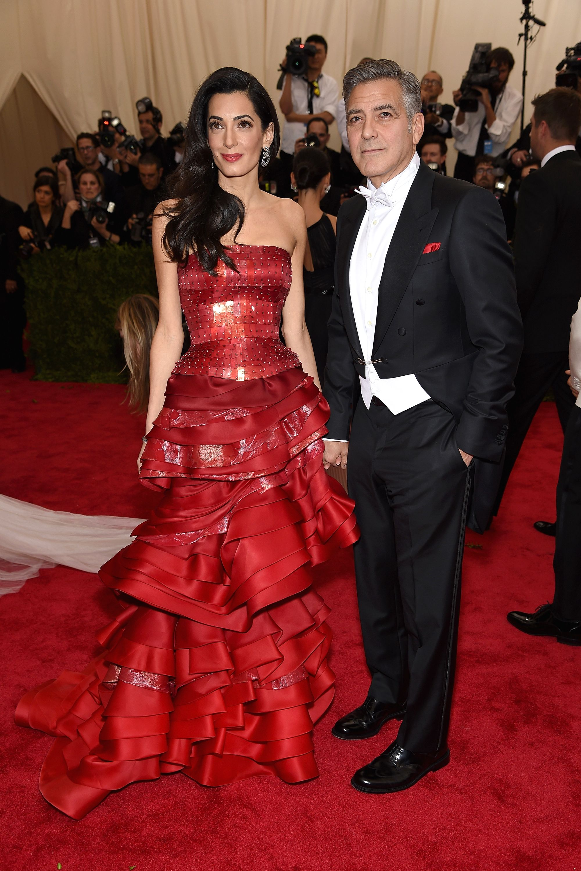 "NEW YORK, NY - MAY 04:  Amal Clooney and George Clooney attend the ""China: Through The Looking Glass"" Costume Institute Benefit Gala at the Metropolitan Museum of Art on May 4, 2015 in New York City.  (Photo by Dimitrios Kambouris/Getty Images)"