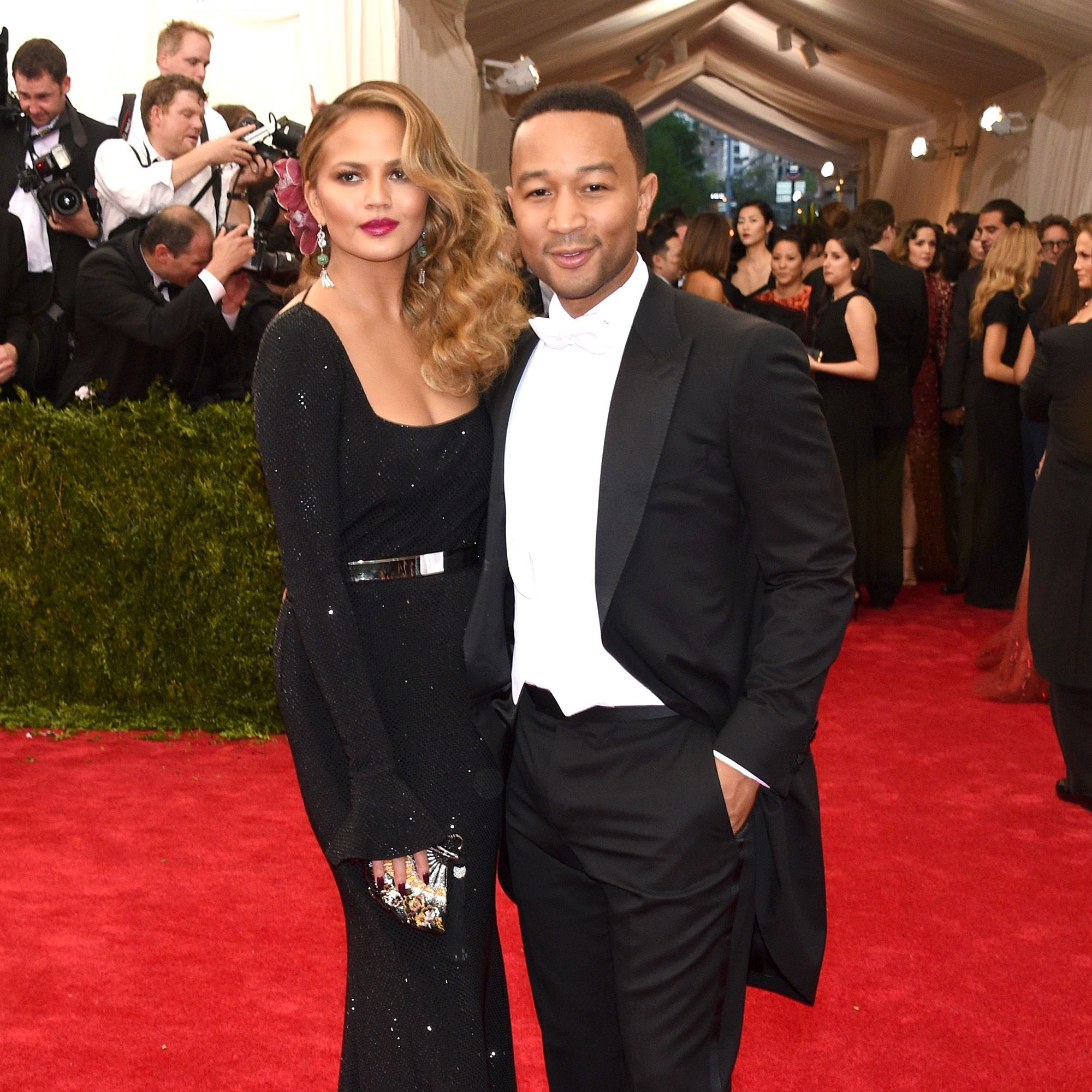 "NEW YORK, NY - MAY 04:  Chrissy Teigen (L) John Legend attend the ""China: Through The Looking Glass"" Costume Institute Benefit Gala at the Metropolitan Museum of Art on May 4, 2015 in New York City.  (Photo by Larry Busacca/Getty Images)"
