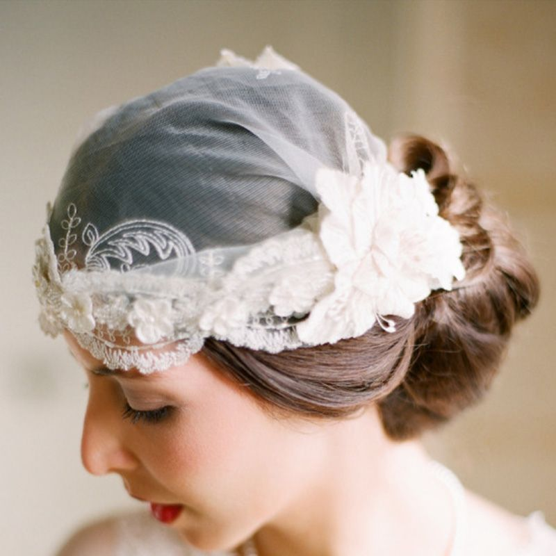 For those who want something unique and elegant, try the bridal cap on for size.
