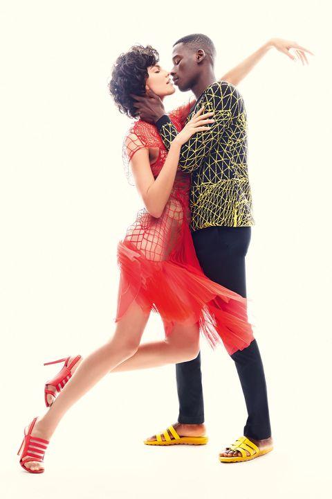 Red, Romance, Interaction, Kiss, Love, Gesture, Thigh, Dancer, Salsa, Calf,