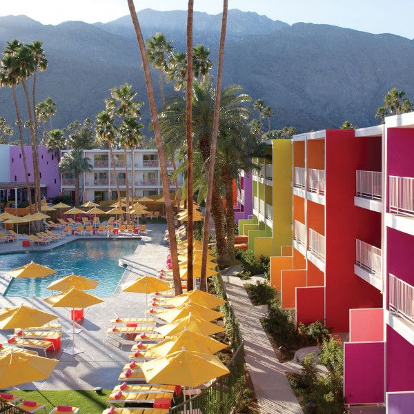 "Tucked in the desert, this bold hotel mixes midcentury style with a modern color palette inspired by indigenous desert flowers. With a restaurant, pool parties, and stylish rooms, the boutique hotel is a technicolor oasis.   <em><a target=""_blank"" href=""http://www.jdvhotels.com/hotels/california/riverside-hotels/the-saguaro-palm-springs/"">Read more at JDV Hotels »</a></em>"