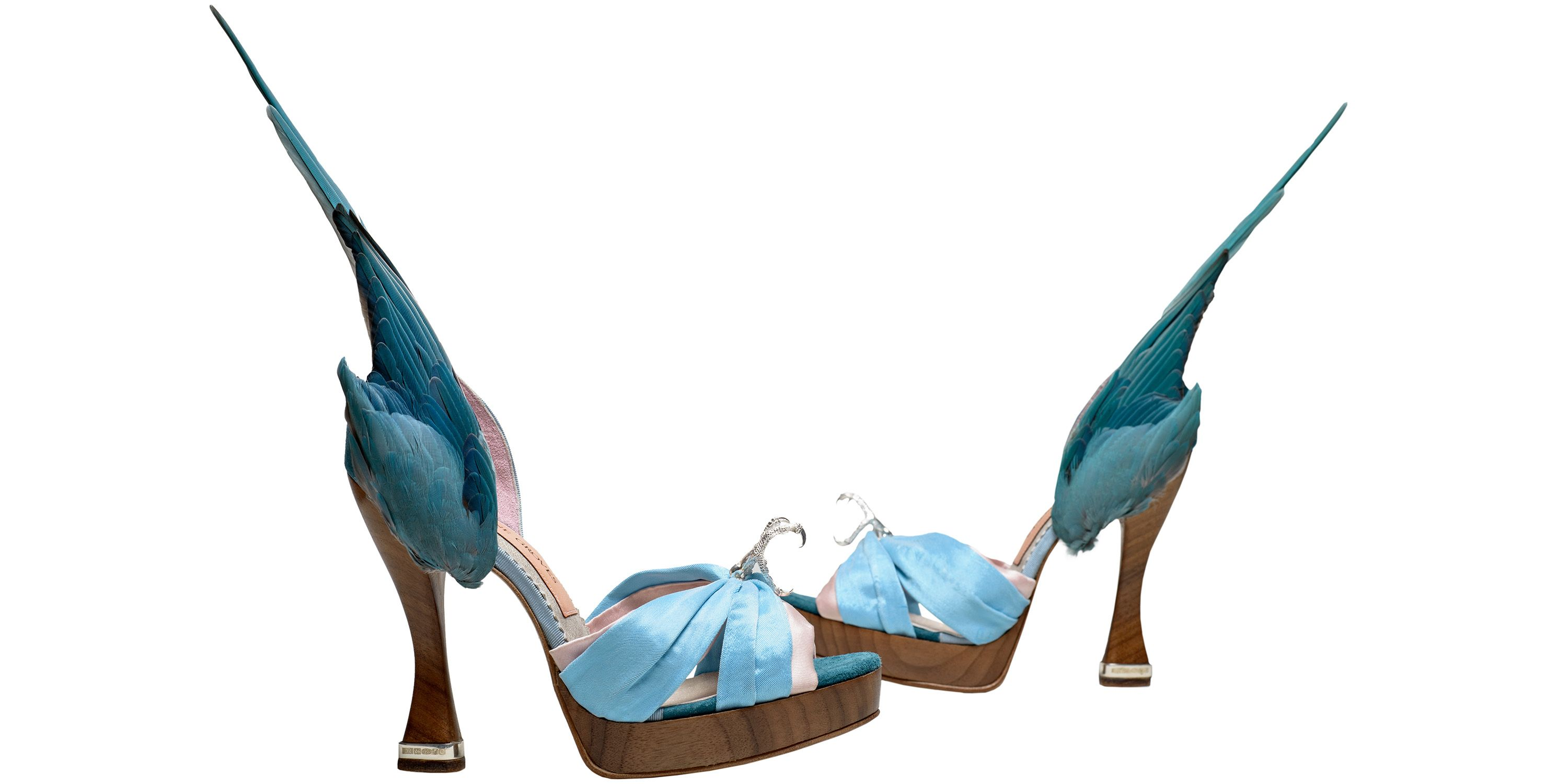 Caroline Groves (b.1959), 'Parakeet' shoes, leather silk satin, solid silver talons and heel tips, with feathers, England, 2014