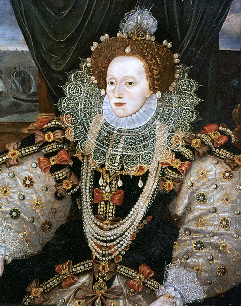 "In the Elizabethan Era, many cosmetics were eschewed because they were believed to block good energy. Ironically pale skin was in, so they *did* allow for things like <a target=""_blank"" href=""http://www.rmg.co.uk/explore/sea-and-ships/in-depth/elizabeth/the-queen%27s-court/body-and-dress "">lead and arsenic for that much-adored pallor</a>. (They didn't quite know that those were poisonous—quite literally blocking good things and bringing in bad ones.) Queen Elizabeth often wore white makeup to maintain her image as a ""Virgin Queen."" The most popular beauty product was ceruse, a mix of white lead and vinegar. High foreheads were also coveted at this time as well, and nobility (including the Queen) had their hairlines plucked to create an even more exaggerated forehead."
