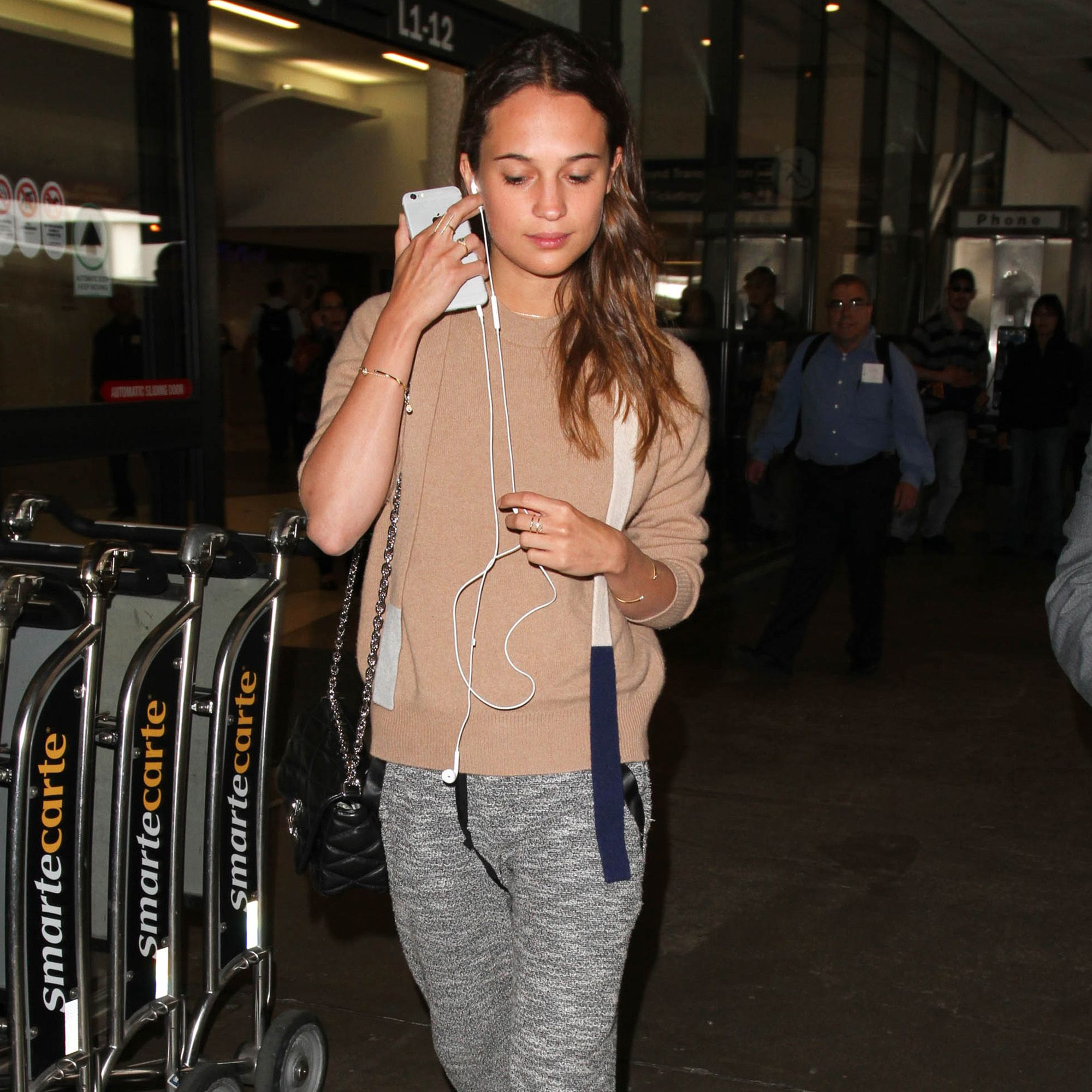 LOS ANGELES, CA - MAY 05: Alicia Vikander seen at LAX on May 05, 2015 in Los Angeles, California.  (Photo by GVK/Bauer-Griffin/GC Images)