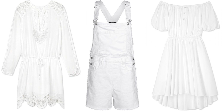 """<strong>Thakoon </strong>dress, $550,<em> <a target=""""_blank"""" href=""""http://shop.harpersbazaar.com/designers/thakoon-addition/lace-hem-dress/"""">shopBAZAAR.com</a></em>; <strong>Each x Other</strong> overalls, $350, <a target=""""_blank"""" href=""""http://shop.harpersbazaar.com/designers/each-x-other/white-frayed-denim-overalls/""""><em>shopBAZAAR.com</em></a>; <strong>Caroline Constas</strong> dress, $395, <a target=""""_blank"""" href=""""http://shop.harpersbazaar.com/designers/caroline-constas/white-bardot-dress/""""><em>shopBAZAAR.com</em></a>"""