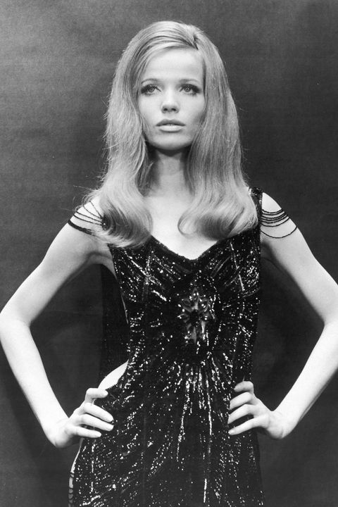 German countess and fashion model Veruschka perfects the  disaffected supermodel look with her hands on her hips and her lips pursed, circa 1968. (Photo by Hulton Archive/Getty Images)
