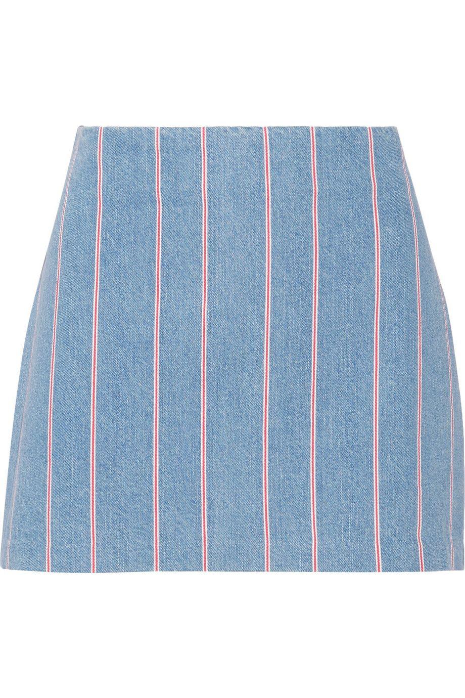 "T by Alexander Wang Striped Denim Mini Skirt, $225; &lt;a target=""_blank"" href=""http://rstyle.me/n/yihh5bc6jf""&gt;net-a-porter.com&lt;/a&gt;   <!--EndFragment-->"