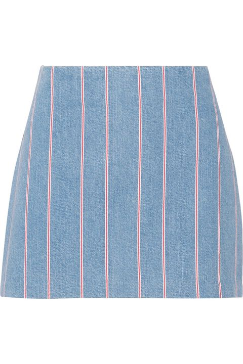 "T by Alexander Wang Striped Denim Mini Skirt, $225; <a target=""_blank"" href=""http://rstyle.me/n/yihh5bc6jf"">net-a-porter.com</a>   <!--EndFragment-->"