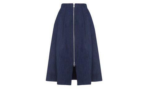 "Whistles Zip Through Midi Skirt, $250; <a target=""_blank"" href="" http://www.whistles.com/women/clothing/skirts/zip-through-midi-skirt-20176.html"">whistles.com</a>"