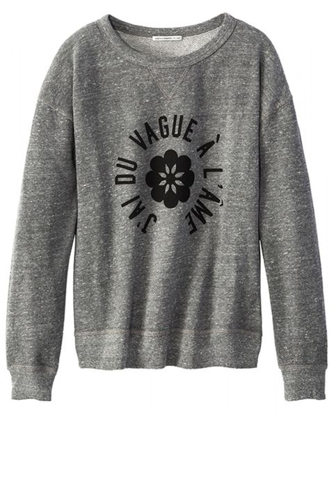 "<strong>Alexa Chung for AG </strong>sweatshirt, $188, <a target=""_blank"" href=""http://shop.harpersbazaar.com/designers/alexa-chung-for-ag/the-new-wave-sweatshirt/"">shopBAZAAR.com</a>."