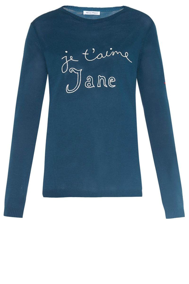 """<strong>Bella Freud</strong> sweater, $394, <a target=""""_blank"""" href=""""http://www.matchesfashion.com/us/products/Bella-Freud-Je-T%27aime-Jane-sweater-1010808"""">matchesfashion.com</a>."""