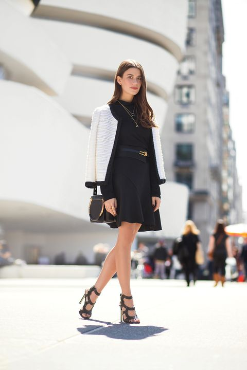<p>Amanda proves that black separates become anything but basic when topped with a stately, ladylike knit jacket.</p>