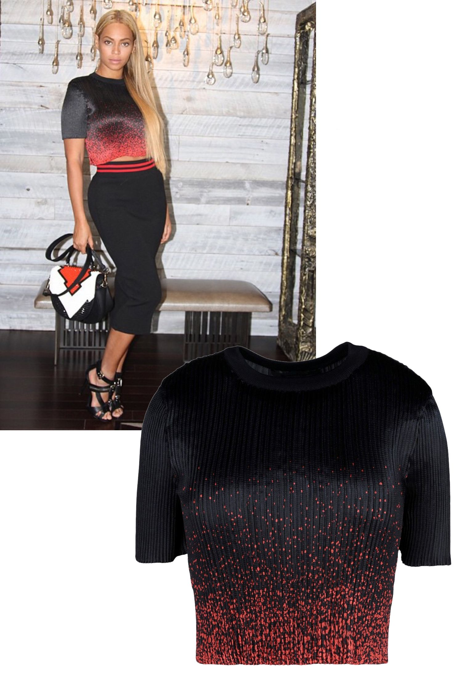 """<a target=""""_blank"""" href=""""https://instagram.com/beyonce/"""">@Beyonce</a>  <em>Alexander Wang top, $595</em>  <a target=""""_blank"""" href=""""http://shop.harpersbazaar.com/designers/alexander-wang/micro-pleated-cropped-top/"""">ShopBAZAAR.com</a>"""