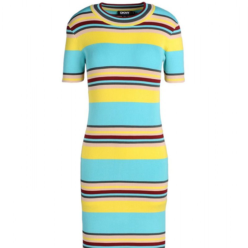 """From bold stripes to standout colorblocking, add interest to your weekday look with a strong, geometric pattern. <strong>DKNY </strong>dress, $206, <a target=""""_blank"""" href=""""http://shop.harpersbazaar.com/designers/dkny/striped-ribbed-midi-dress/"""">shopBAZAAR.com</a>"""